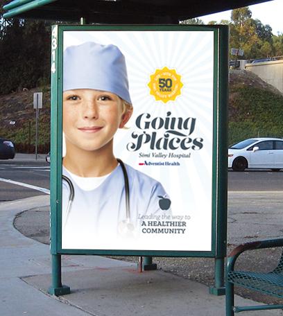 Simi Valley Hospital 50-Year Anniversary Transit Shelter Ad