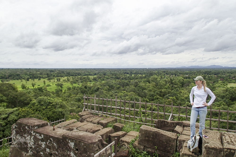 O  n top of the tiered pyramid at Koh Ker in northern Cambodia (Photo: Sarah Klassen, 2014)