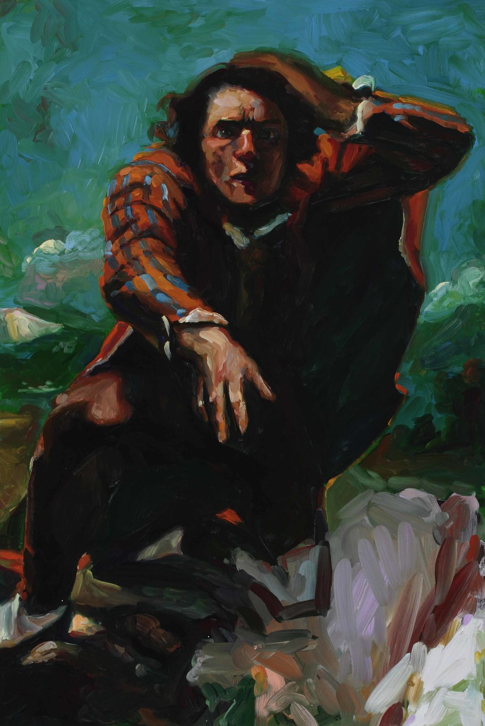 Hovering (after Courbet), oil on board, 60 x 40 cm, 2008.