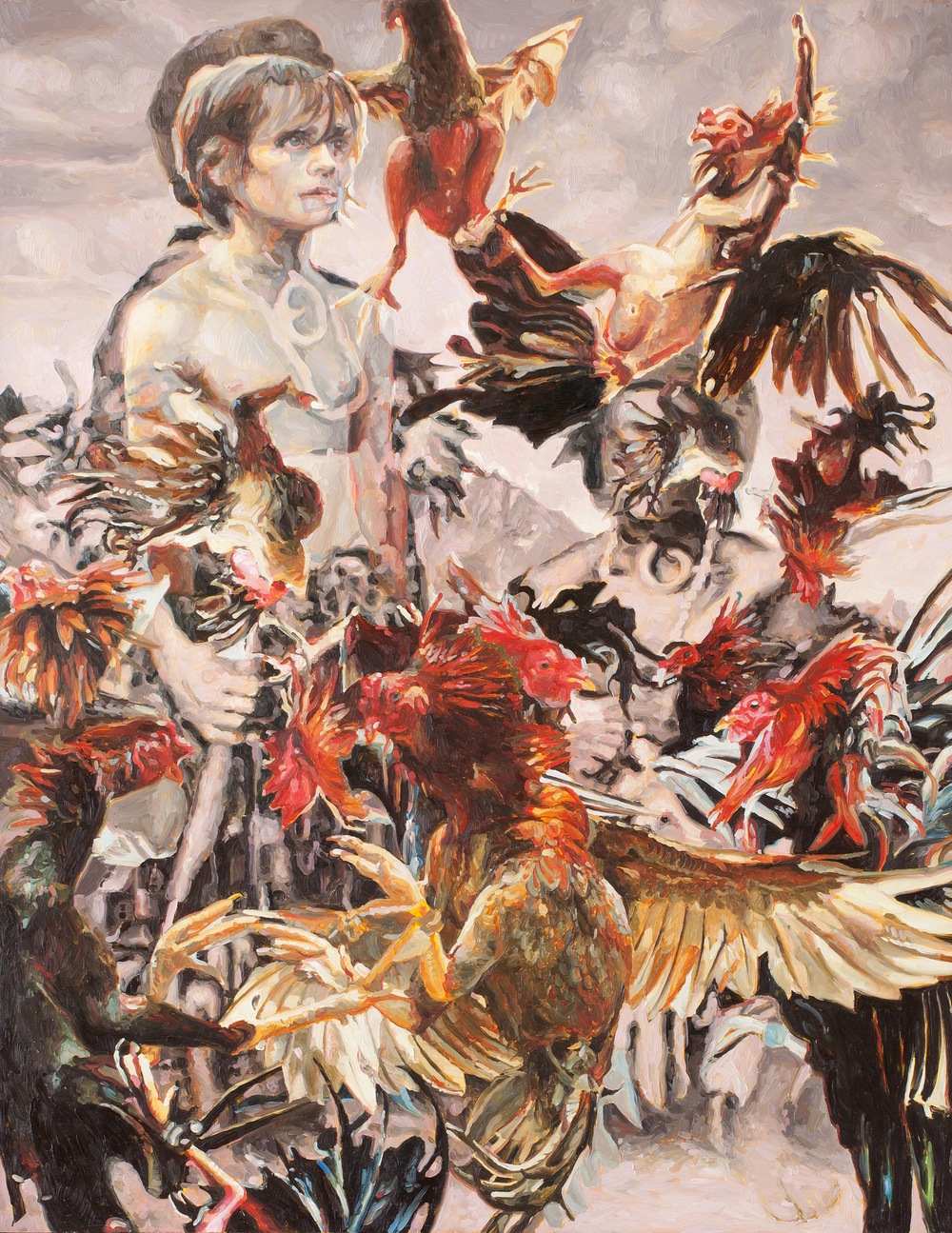 Penned Like Chickens Eaten Like Chickens, oil on board, 90 x 70cm, 2014.