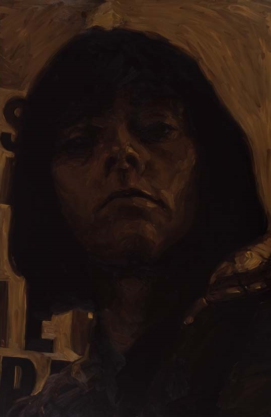untitled self-portrait (in umber), oil on board, 135 x 90 cm, 2007
