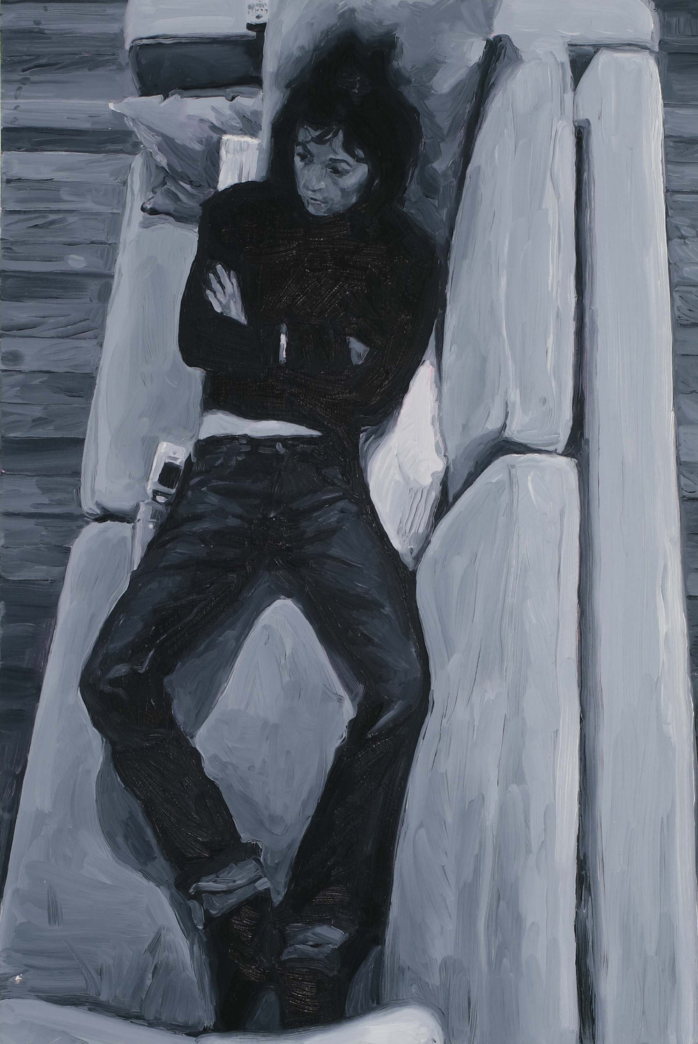 Reclining TV, oil on board, 60 x 40 cm, 2008.