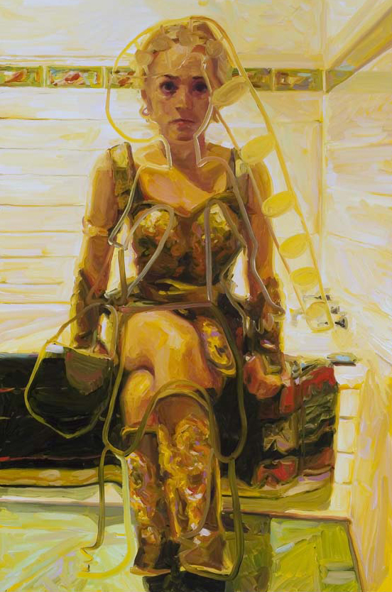 Self-Portrait as Xena, oil on board, 90 x 60 cm, 2005.