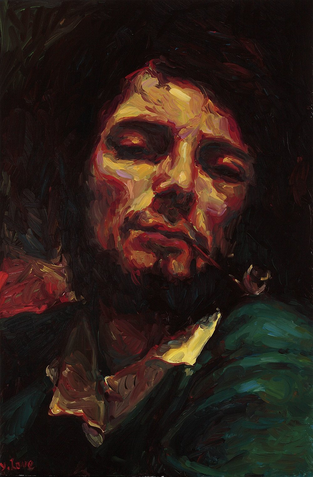 Man with a Pipe (after Courbet), oil on board, 60 x 40 cm, 2008.