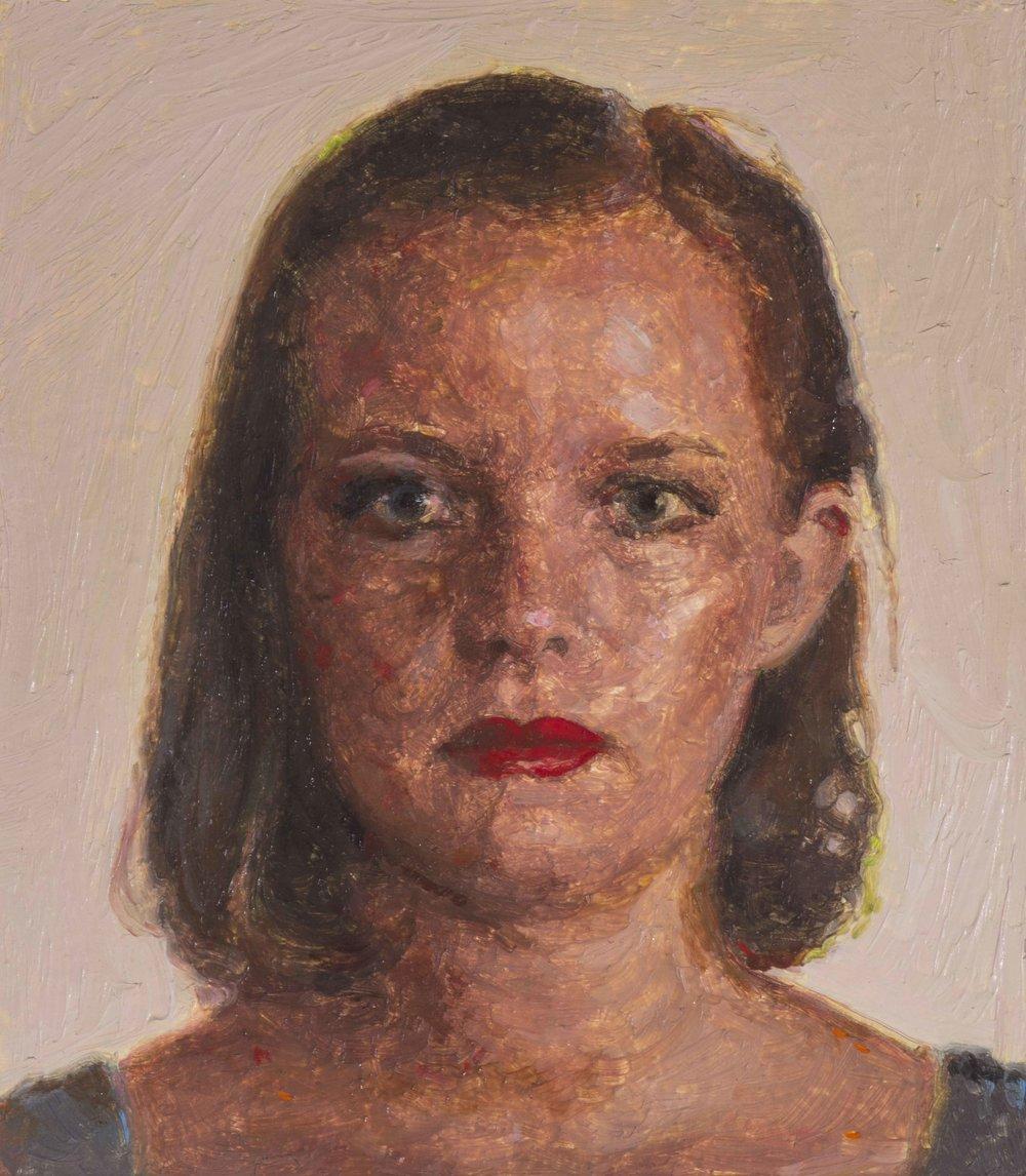 Portrait of Susan Frances Fragar (detail), oil on papoer, 67.5 x 50 cm, (image 10 x 11.5 cm), 2016. (Private collection).