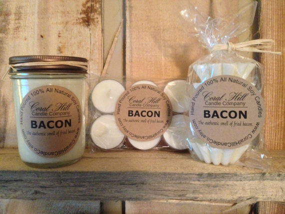 Bacon Scented 8oz Mason Jar Soy Candle by CoralHillCandleCo