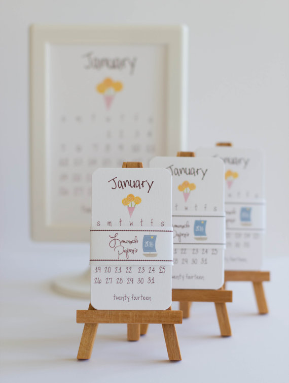 2014 Sweet Mini Calendar With Wooden Easel by lemonadepaperie