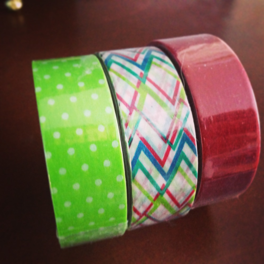 Set of 3 washi tape polka dot chevron red