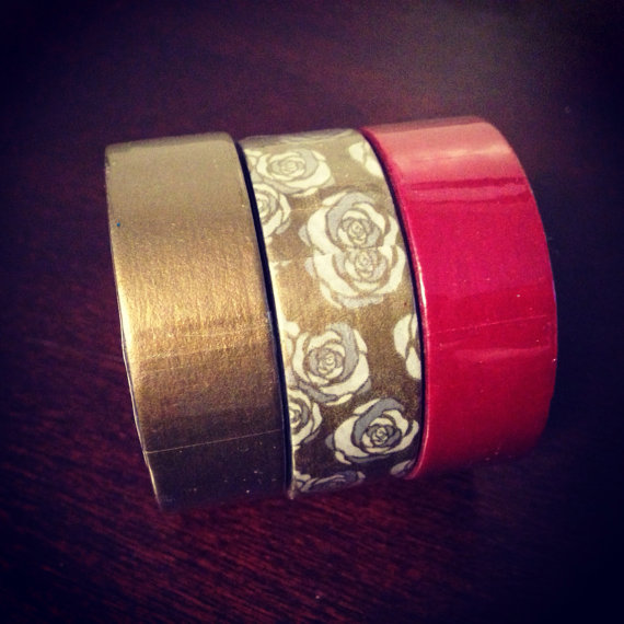 set of 3 washi tape gold rose and red