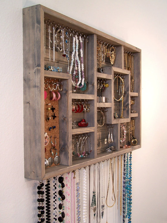 Jewelry Organizer Wall Hanging by   barbwireandbarnwood