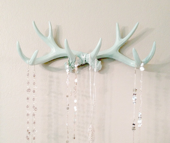 Mint Faux Deer Antler Rack // Jewelry Holder by LucyHaus