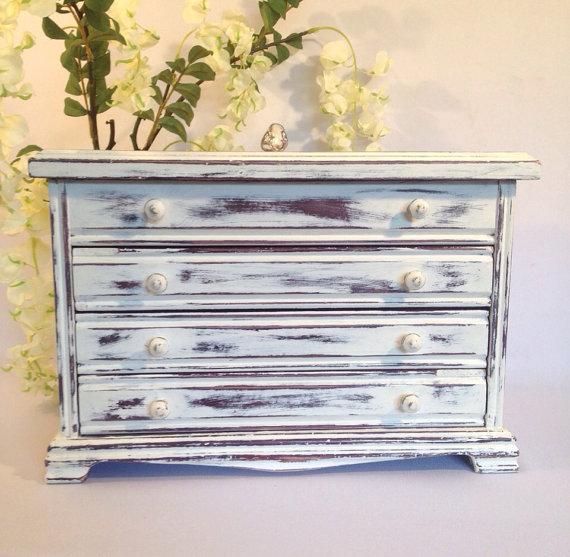 Large White jewelry chest distressed jewelry box jewelry armoire large jewelry organizer beach cottage shabby chic by    shabbyshores