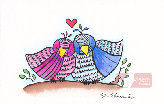 Love Birds: Original Watercolor painting- 4x8 by    crimsoncranestudios