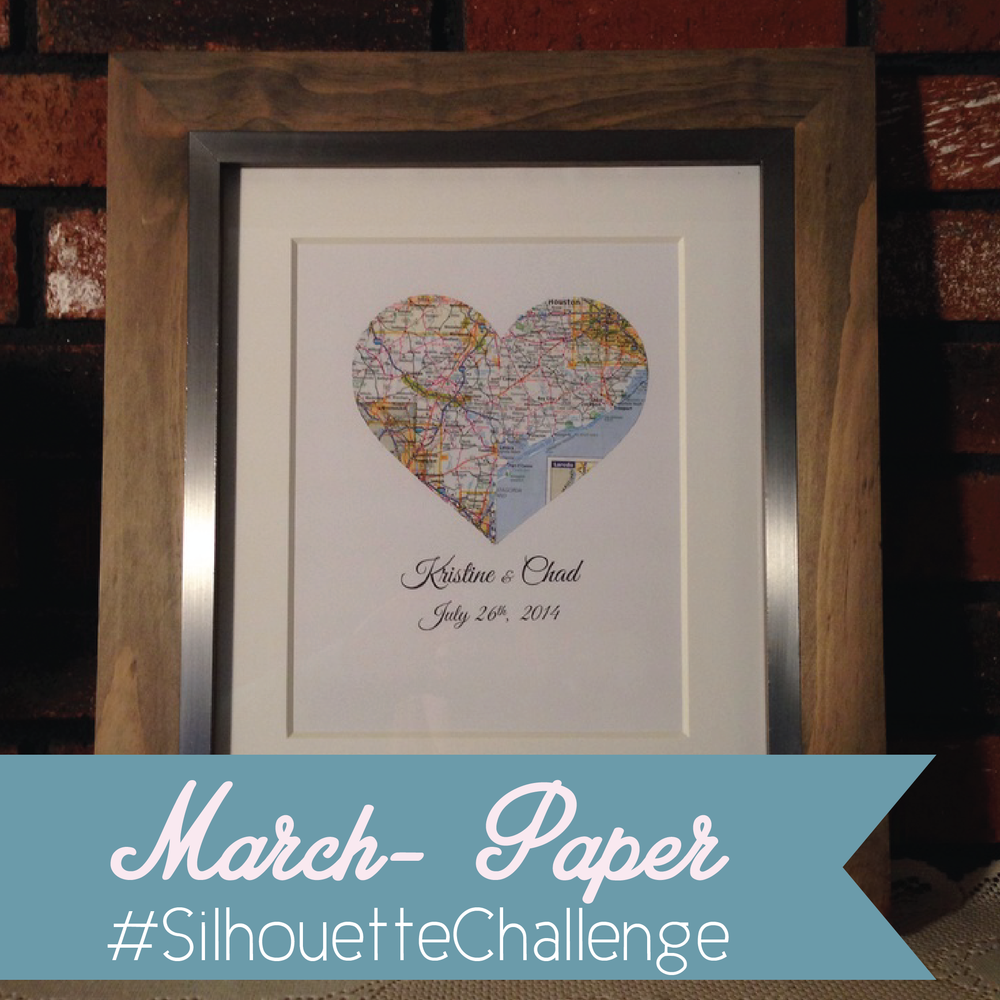 march silhouette challenge wedding shower gift heart map