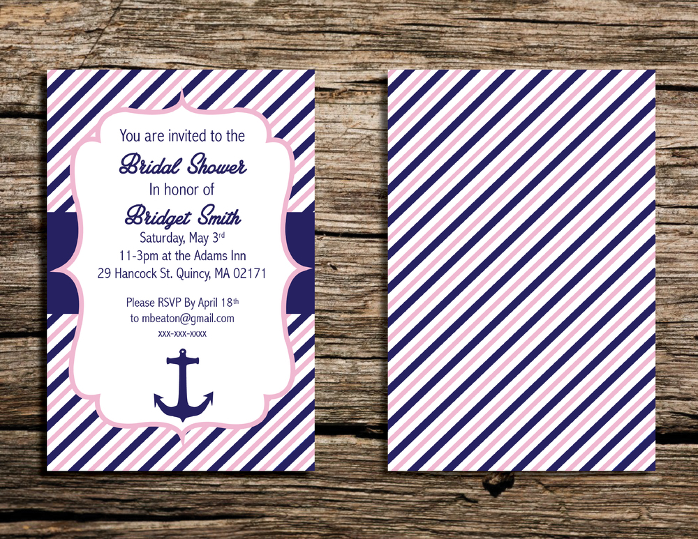 Printable 4x6 Pink and Navy Nautical Bridal/Wedding Shower Invitation by   WeekendCraft