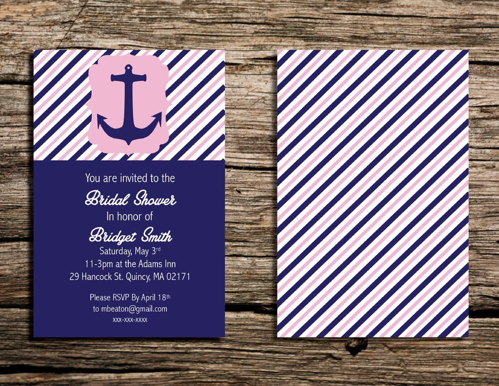 Printable 4x6 Pink and Navy Nautical Wedding Shower Invite by    WeekendCraft