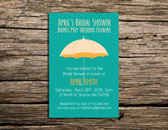PRINTABLE April Wedding Showers Bring Bridal Showers Invitation by    WeekendCraft