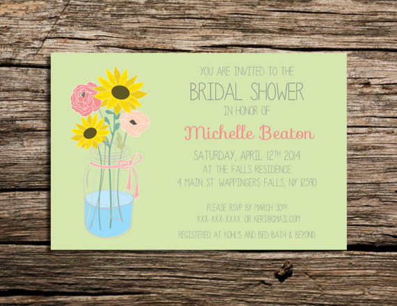 PRINTABLE 6x4 Sunflower and Mason Jar invitation by    WeekendCraft