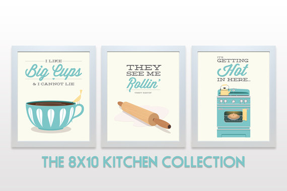 ORIGINAL Kitchen Print Set - 8x10 Posters wall cooking baking rap lyrics minimal eggshell aqua teal cute retro mid century modern 3 piece by    noodlehug