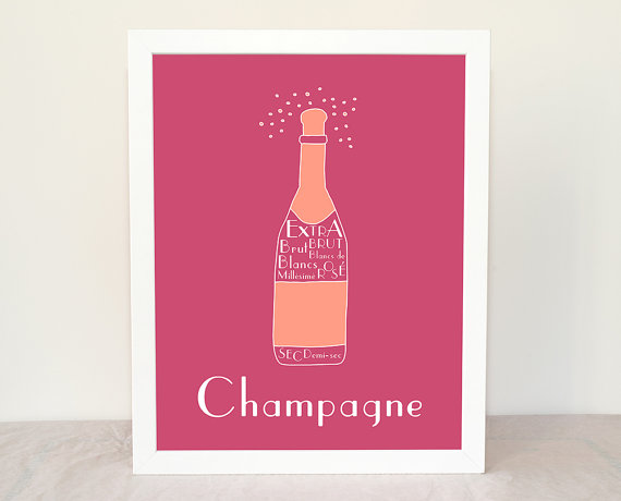 Kitchen Art Champagne Personalized Poster 8x10 by GeraldineAdams