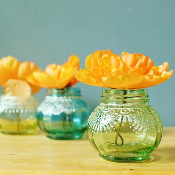 Trio of Round Jar Bud Vases with Delicate Lace Detailing by   LITdecor