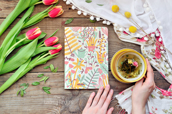 Eco notebook with garden illustration by TheTwentyFingers