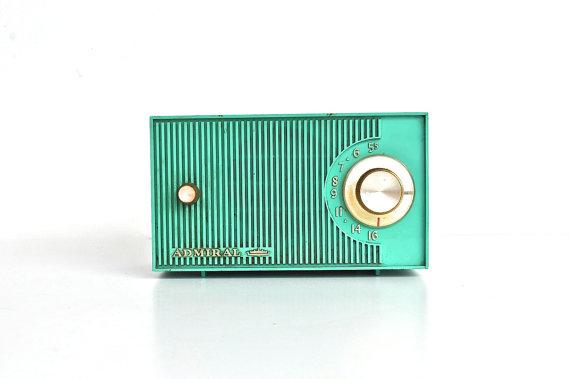 Seafoam Green Vintage Radio - Mid Century Modern Decor - Admiral Radio by   charliesnest