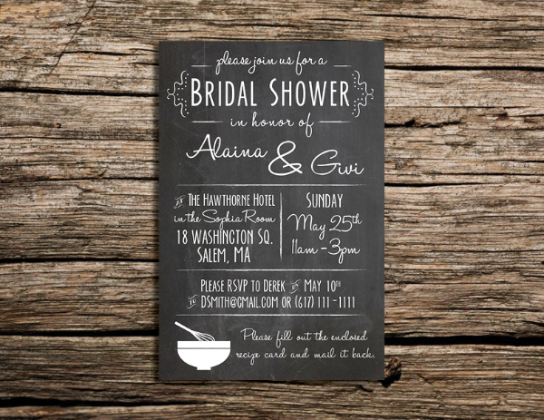 Chalkboard Bridal Shower Invite