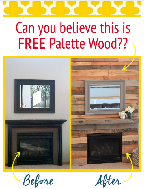 Palette Wood Fireplace Surround Makeover by I Think We Could Be Friends