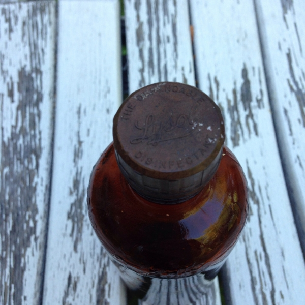 Vintage Amber Lysol Glass Bottlecap