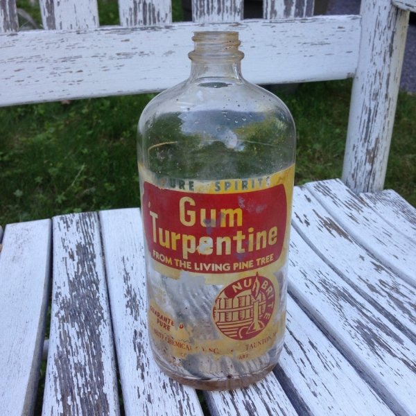 Vintage Nu Brite Gum Turpentine Glass Bottle