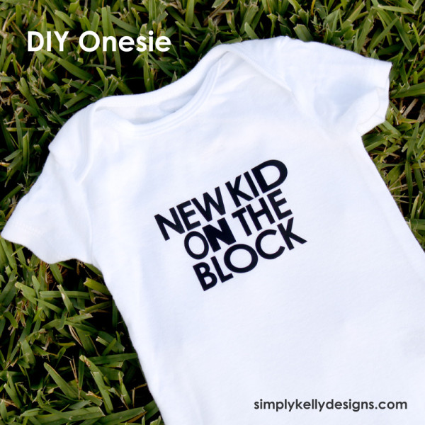 DIY New Kid On The Block Onesie With Free Cut File   from Simply Kelly Designs