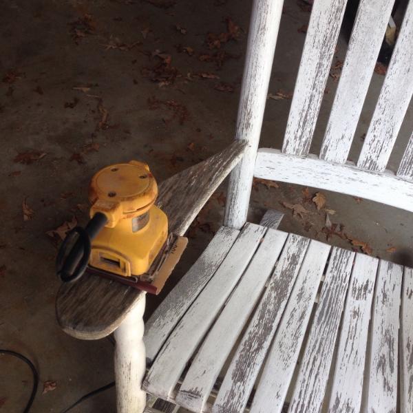 sanding rocking chair