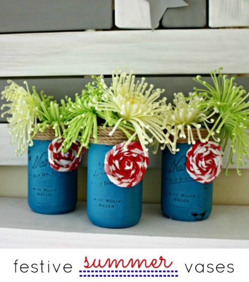 Festive Summer Mason Jar Vases by View From the Fridge
