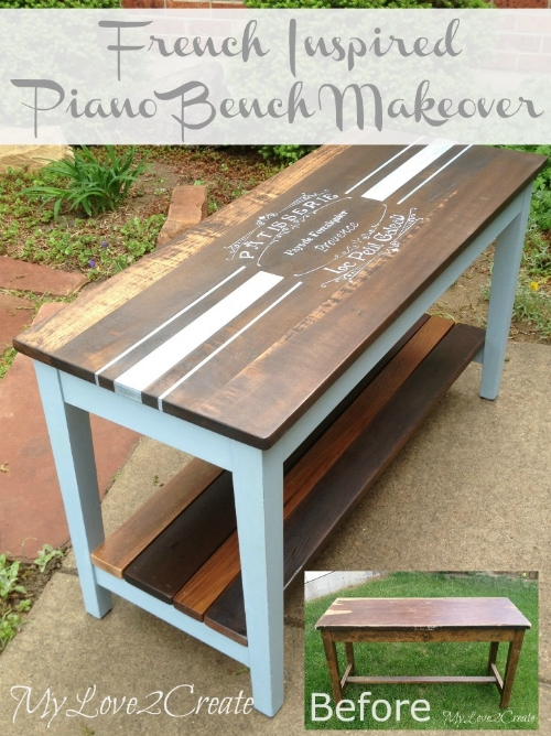 French piano bench makeover