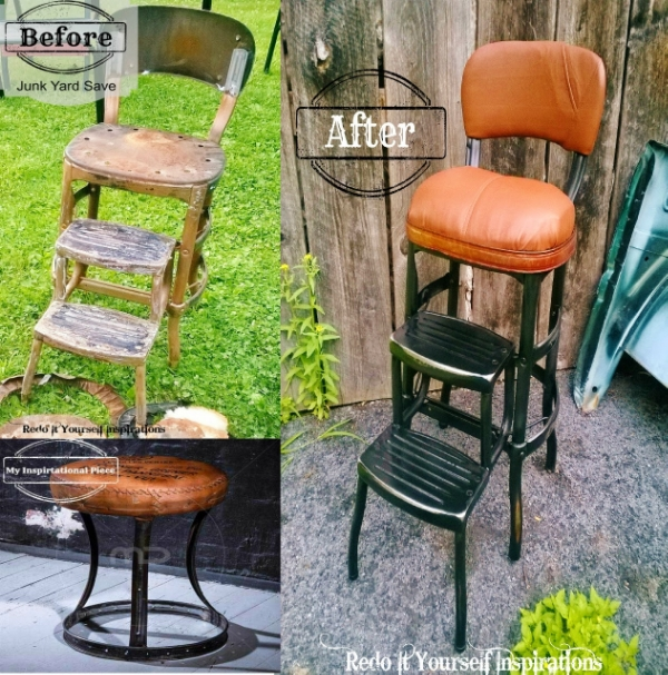 Junkyard stool makeover