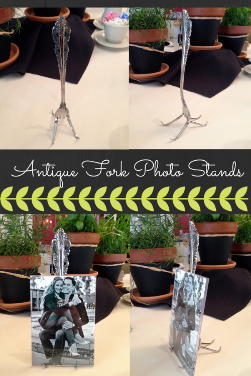antique fork photo stand
