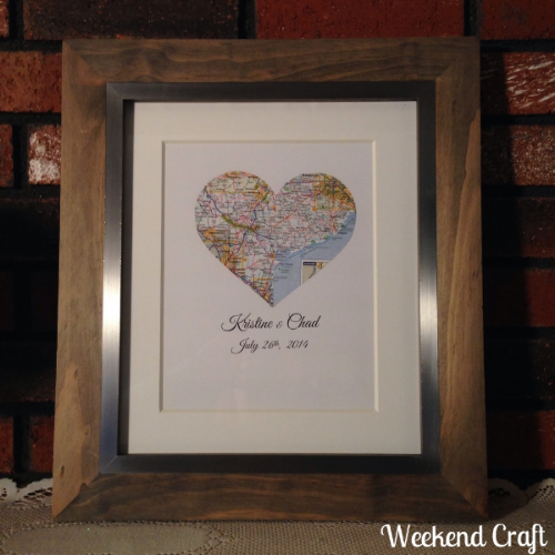 Couples hometown heart map frame