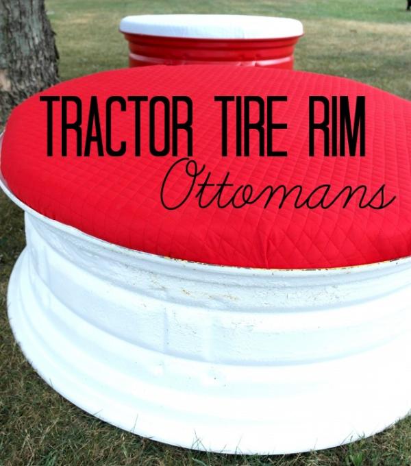 Tractor Tire Rim Ottoman