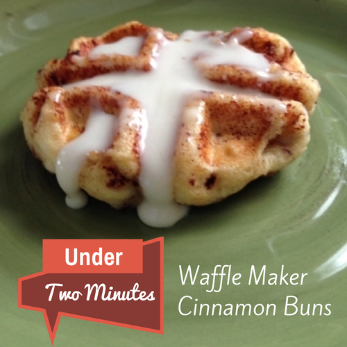Under two minutes waffle maker cinnamon buns