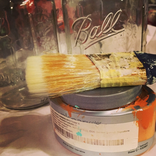 mason jars and paint