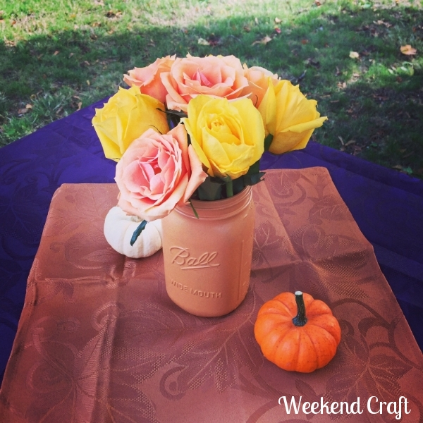 Painted Mason Jar Vase from Weekend Craft