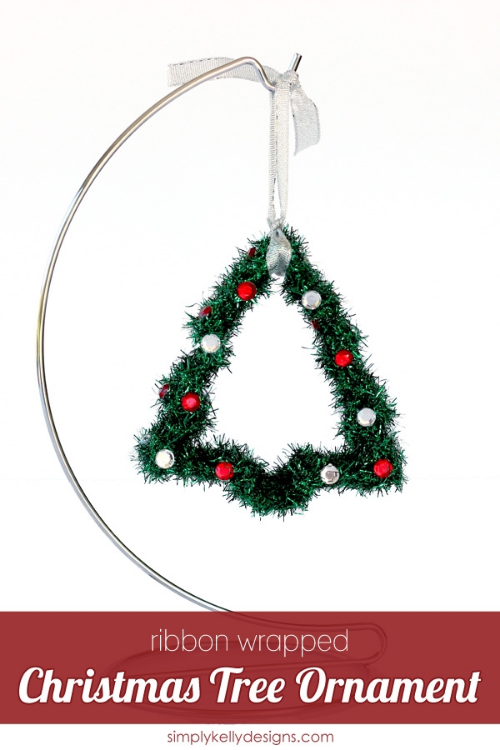 Ribbon Wrapped Christmas Tree Ornament