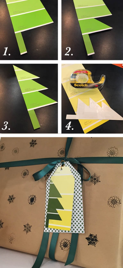 Step by Step Paint Chip Gift Tags