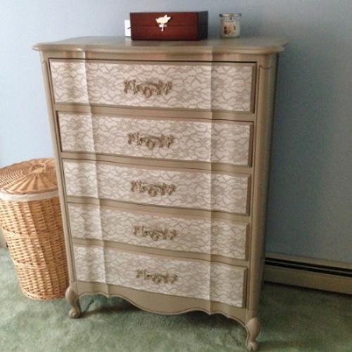 Lace Stencil Painted Dresser
