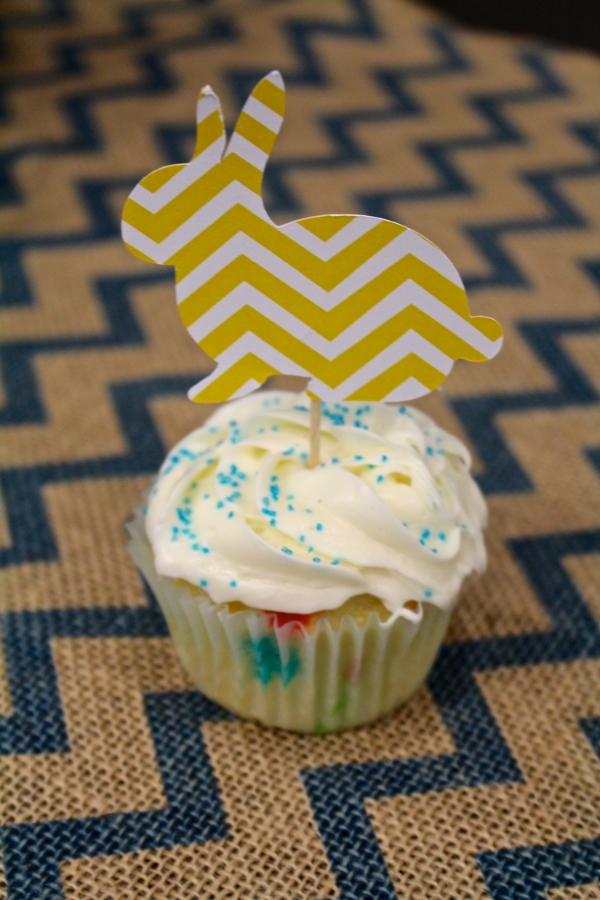Chevron Bunny Cupcake Toppers