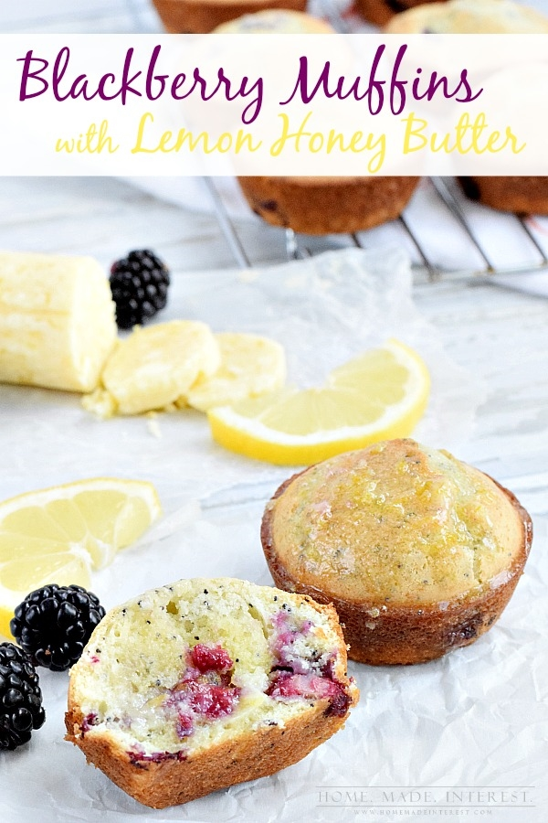 Blackberry Muffins with Lemon Honey Butter