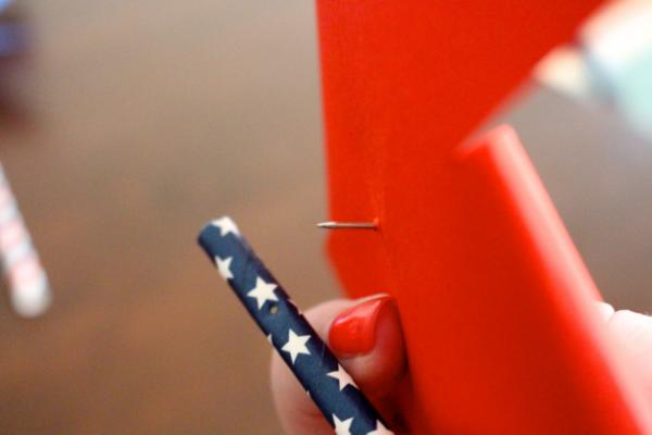 Paper Straw thumb tack pinwheels