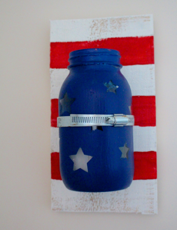 Patriotic Mason Jar Sconce