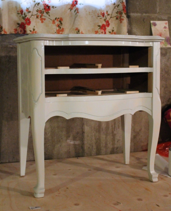 French Provincial End Table First Coat